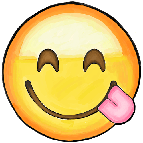 Drawn tongue icon Out Face How Emoji Out