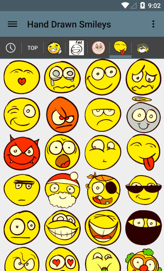 Drawn smileys For chat Hand Play Apps