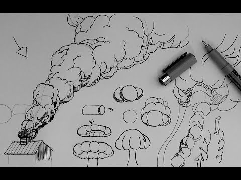 Drawn smoking Explosion a cloud or