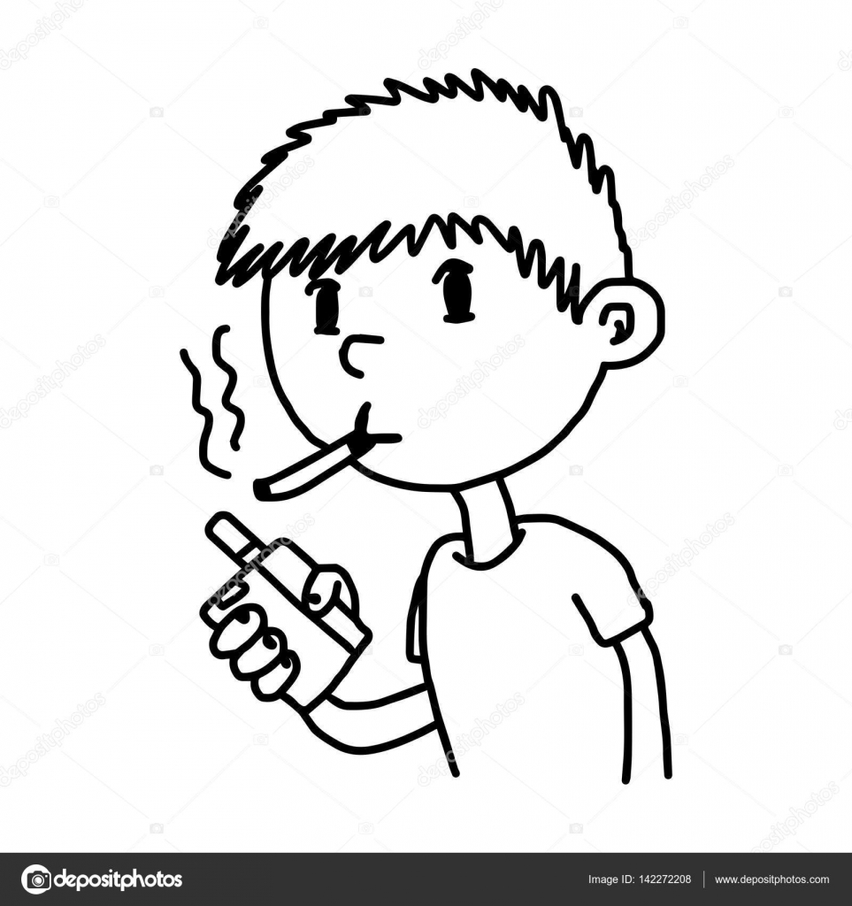 Drawn smoke boy Illustration — cigarette doodle boy