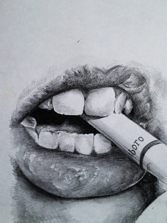 Drawn contrast bite mark Lip drawing Google  Search