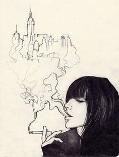 Drawn smoke face Moleskine right here Urban genius