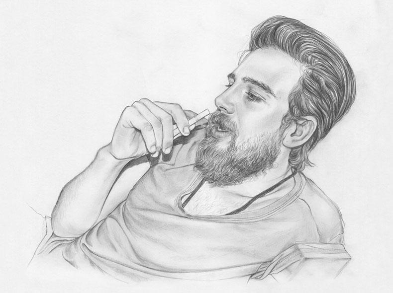 Drawn smoke man Com #handsome #man #handsome Smoking