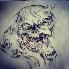 Drawn smoke skull Tattoo Designs Designs Skull