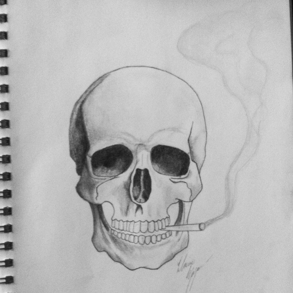 Drawn smoke skull And lanielove The smoking lanielove