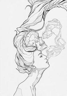 Drawn smoke skull Smoke The girl And tattoo