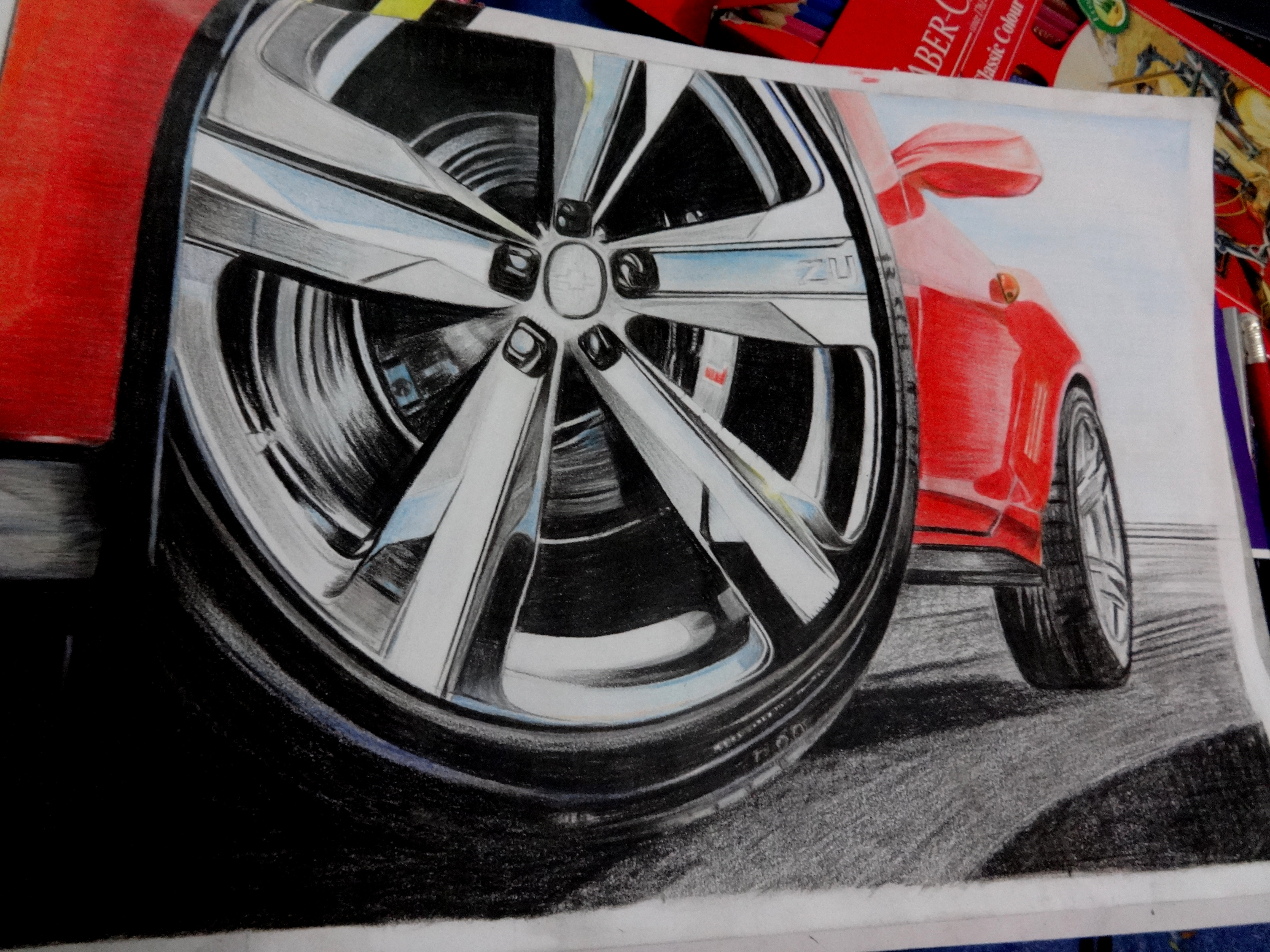 Drawn smoke tire Drawn with Red (Faber Castell)
