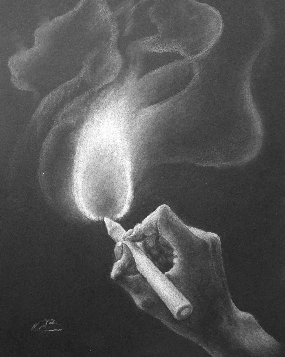 Drawn smokey art Item? Surrealism drawing white pastel