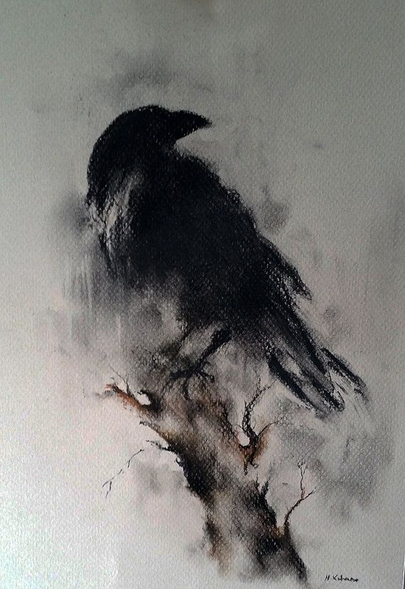 Drawn raven artistic Drawing Halloween Crow on 12x8
