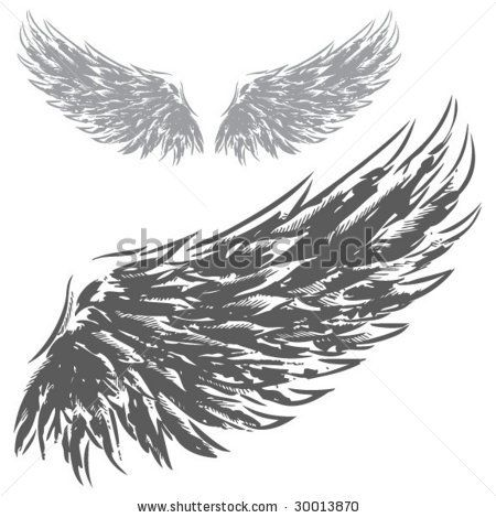 Drawn raven open wing White Eagles Wings Drawn Wings