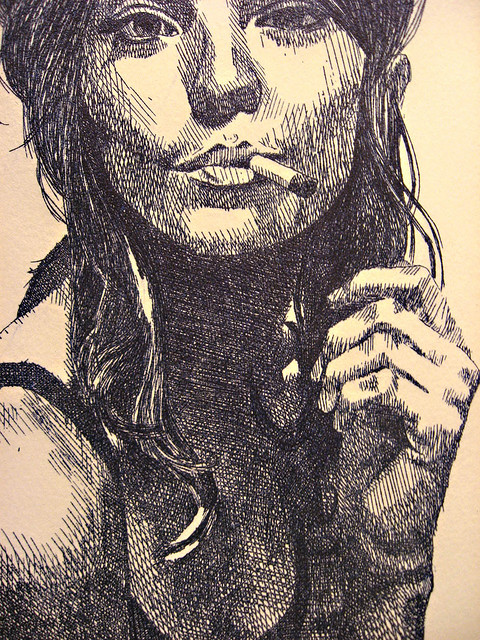 Drawn smokey pen Pen (detalle) hatching smoke fumando