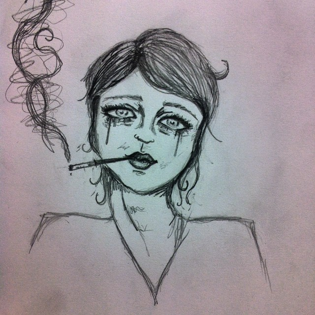 Drawn sad smoking On Sad girl drawing smoke