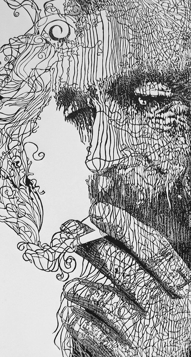 Drawn smokey pen Portrait  interpret for Smoke