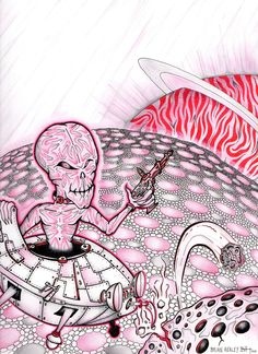 Drawn smokey pen and ink India a archival Astro Reaper