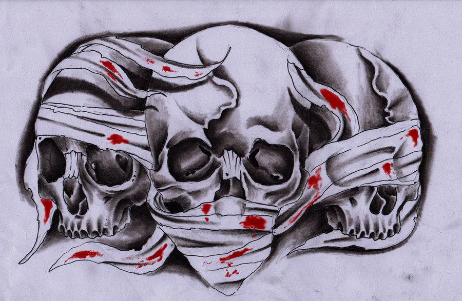 Drawn smokey skull 3 skulls by 3 on