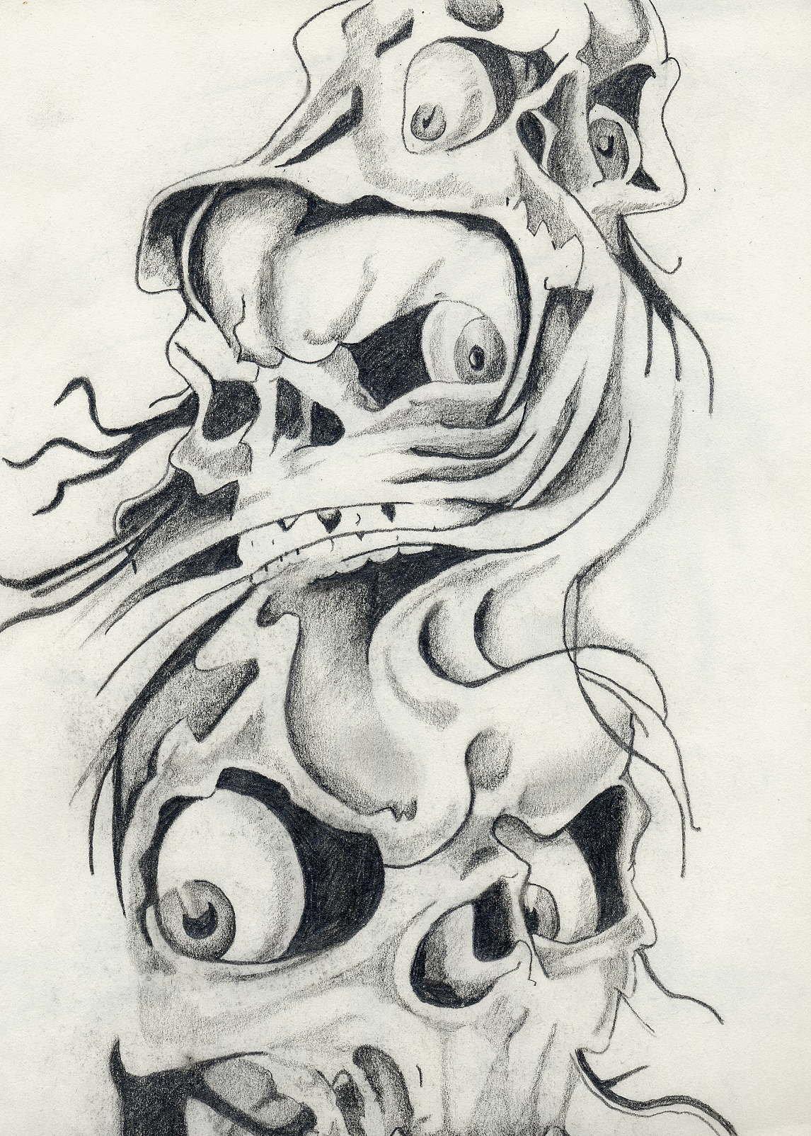 Drawn smokey skull Skulls QuaZeroy on by by