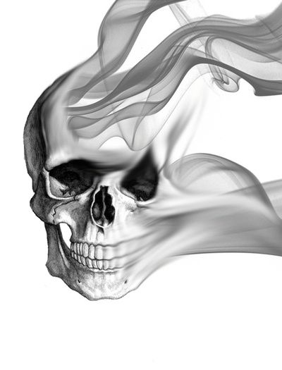 Drawn smoke skull Tattoos Hodeskaller Smokey kunst Pinterest