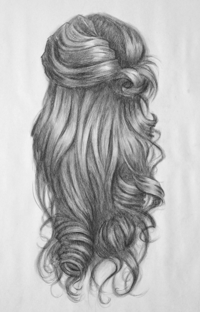 Drawn smokey wind hair Curls of of curly side