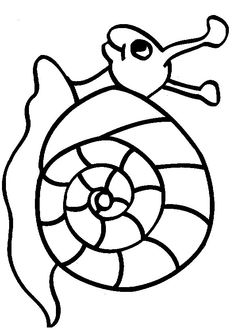 Drawn snail outline Snail pages and plate Coloring