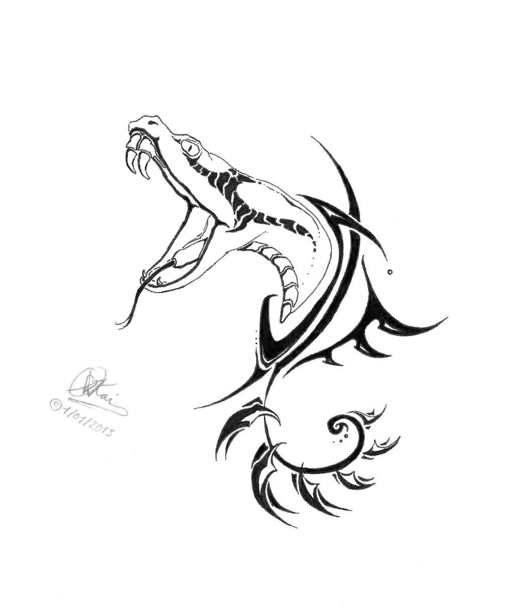 Drawn snake angry snake  A Tattoobite Dagger com