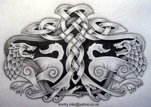 Drawn snake celtic knot Celtic snake wolves knot with