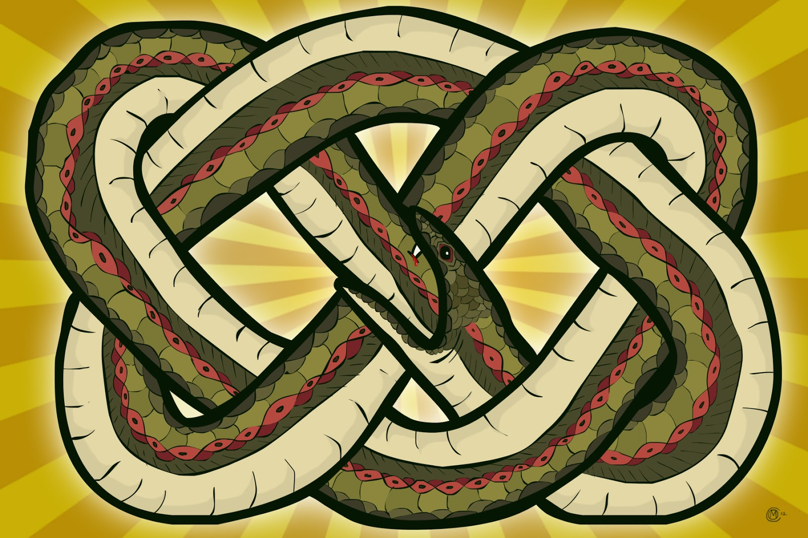 Drawn snake celtic knot Fun: Eating of O'Connell's itself
