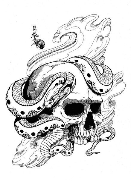 Drawn snake dragon Snake Jack Pinterest skulls 105