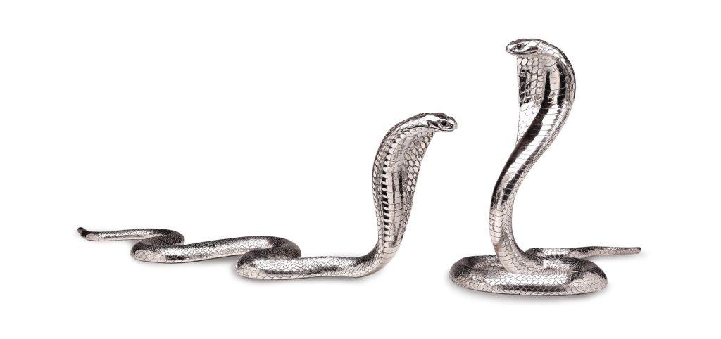 Drawn snake egyptian cobra  Silver Mavros Egyptian Sterling