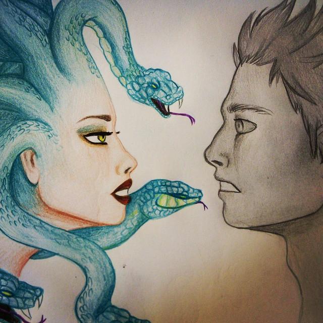 Drawn snake female Medusa art turn draw her