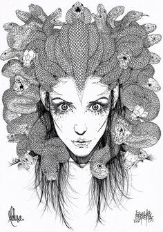 Drawn snake female Méduse Medusa Psychics 4 Medusa