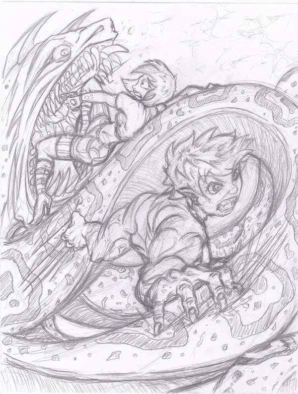 Drawn snake giant snake (Sketch) a  battle by