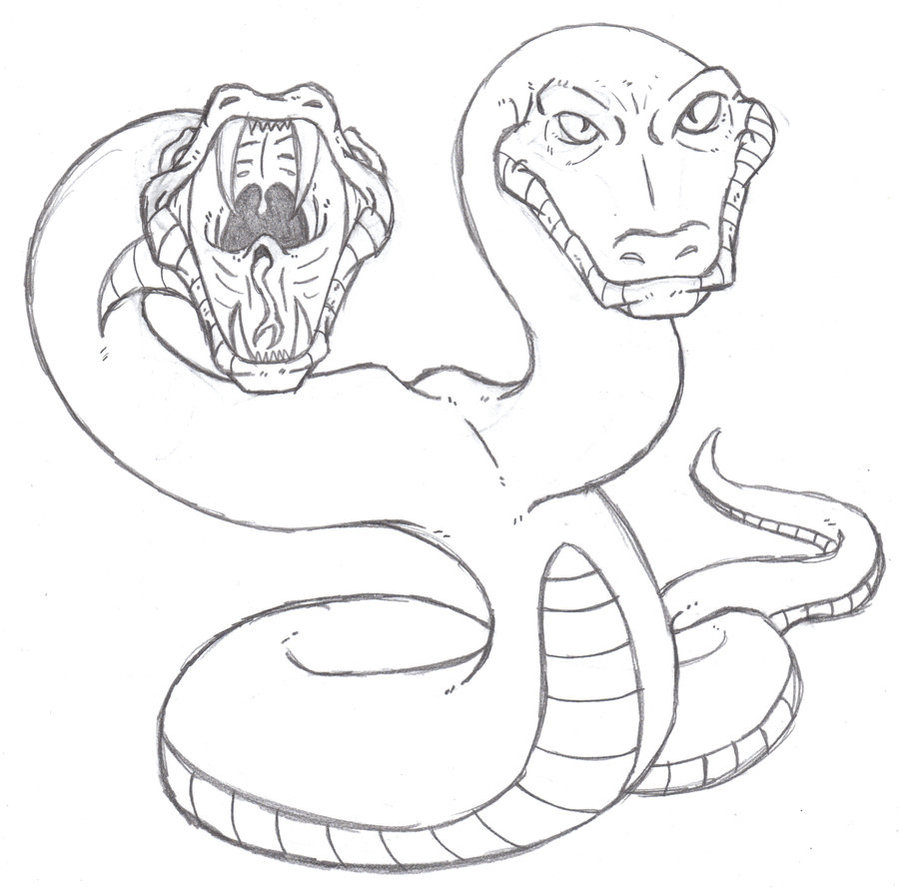 Drawn snake open mouth Headed by Phycosmiley Phycosmiley Headed