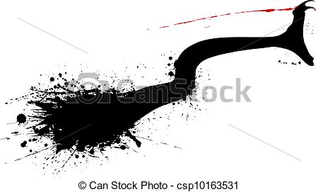Drawn snake snake strike Silhouette of vector grunge bite