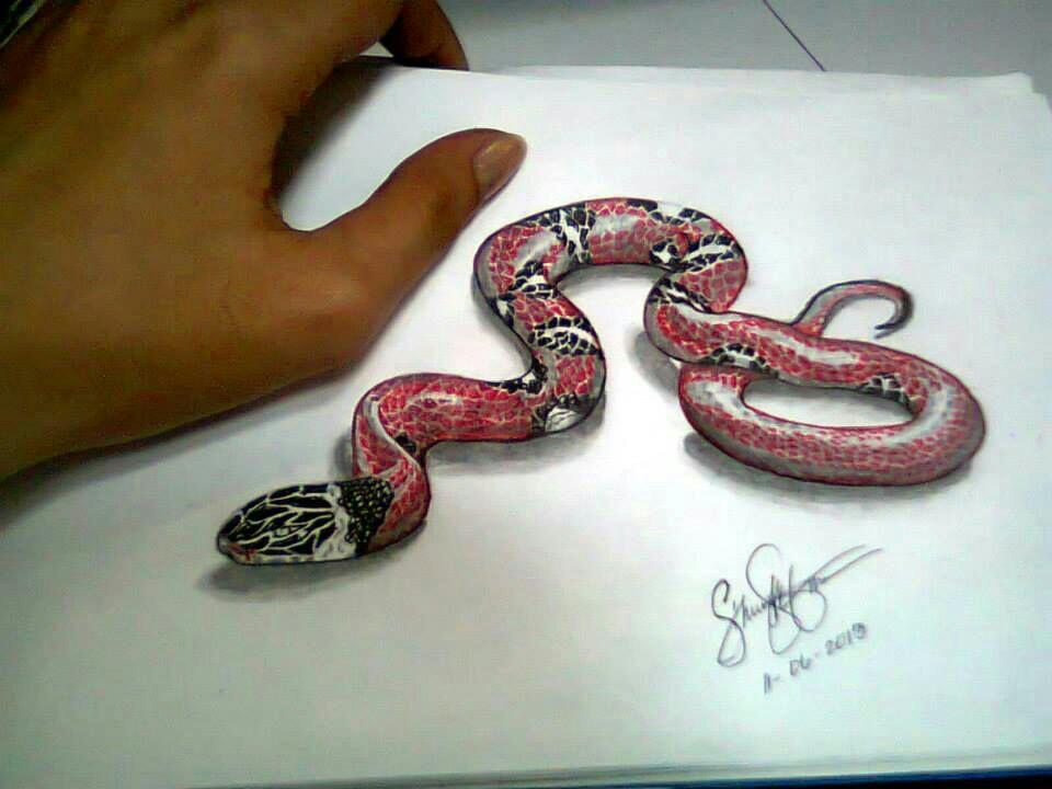 Drawn 3d art snake Tattoo Tattoo snake Ideas On