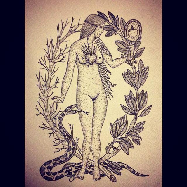 Drawn snake tree drawing #snake #eva #snake #woman #apple