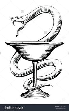 Drawn snake vintage Fakelore Symbol style Simple Photonesta
