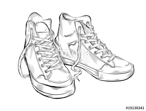 Drawn sneakers Free Hand drawn sneakers Stock