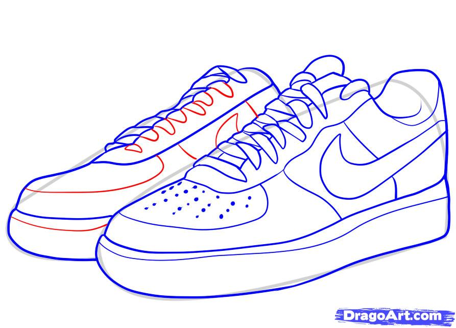 Drawn sneakers Force by step nike how