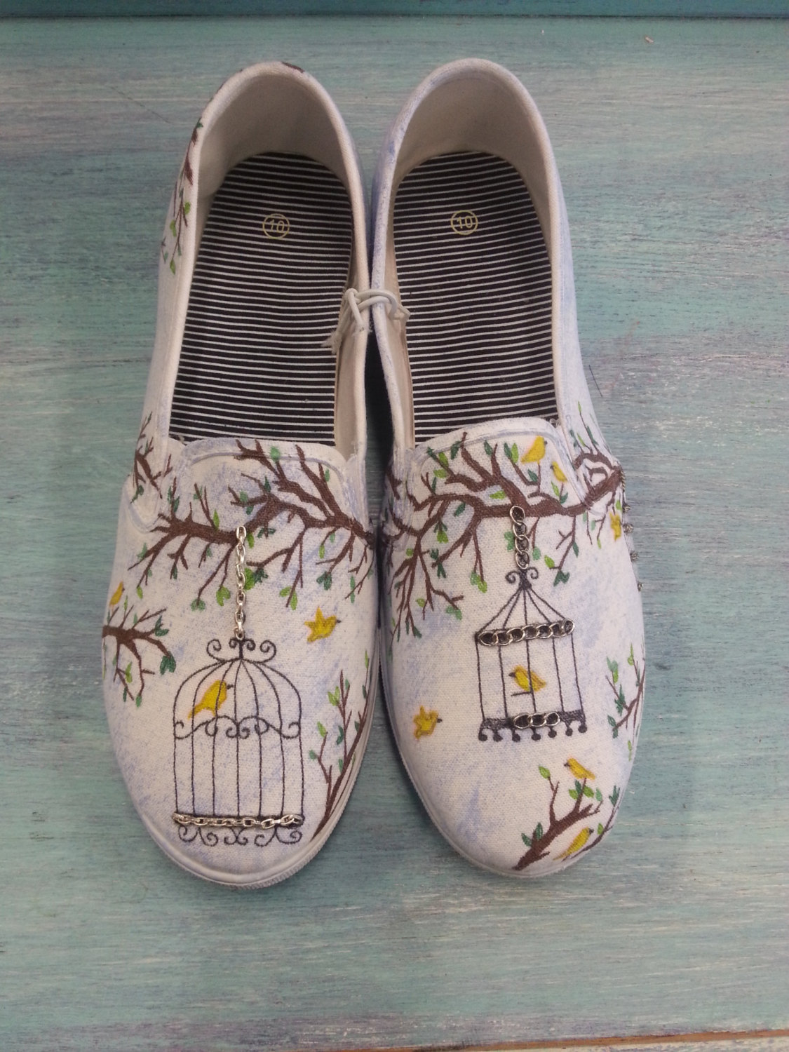 Drawn sneakers canvas shoe Canvas Hand Birdcage Vintage Womens