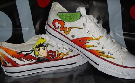 Drawn sneakers naruto Hand Anime Shoes Painted Custom