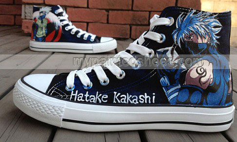 Drawn sneakers naruto Shoe Anime Shoes Kakashi Shoes
