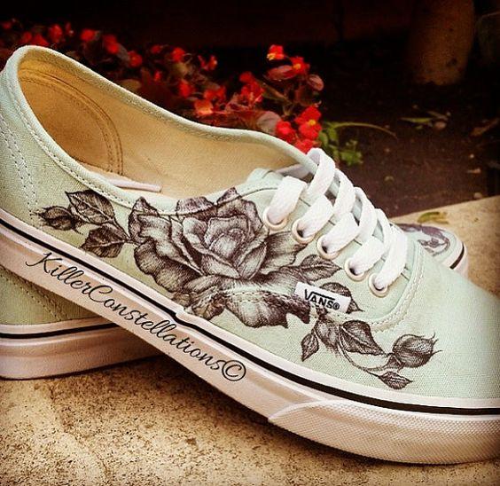 Drawn sneakers white van Flower KillerConstellations Sharpie  Drawn