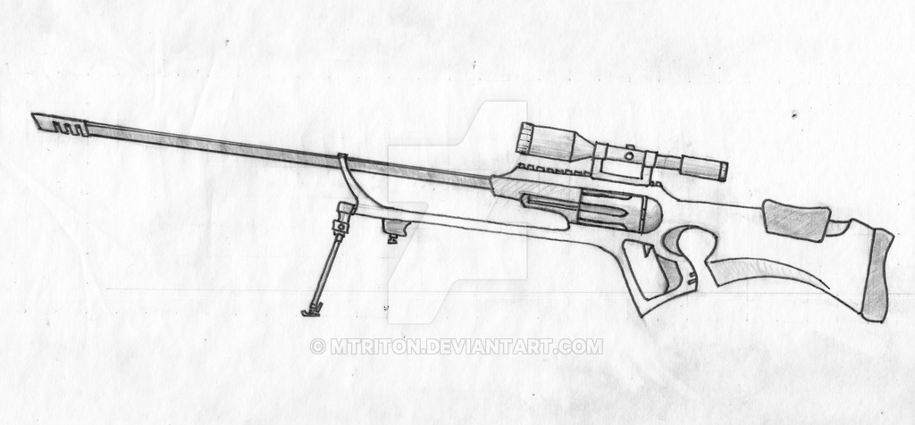 Drawn weapon sniper rifle MTriton Sniper Rifle sketch by