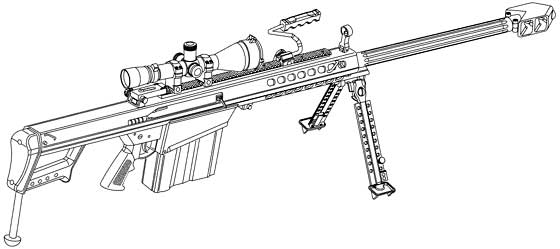 Drawn snipers 50 cal Rifle  Sniper The M107