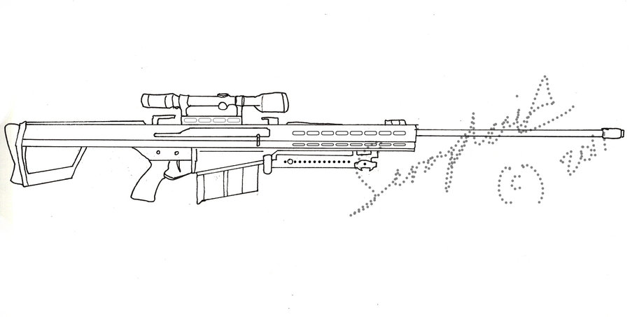 Drawn snipers 50 cal By Cal by 50 rifle