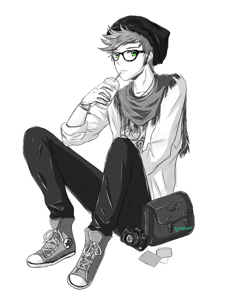 Drawn snipers anime boy Hipster male con Google boy