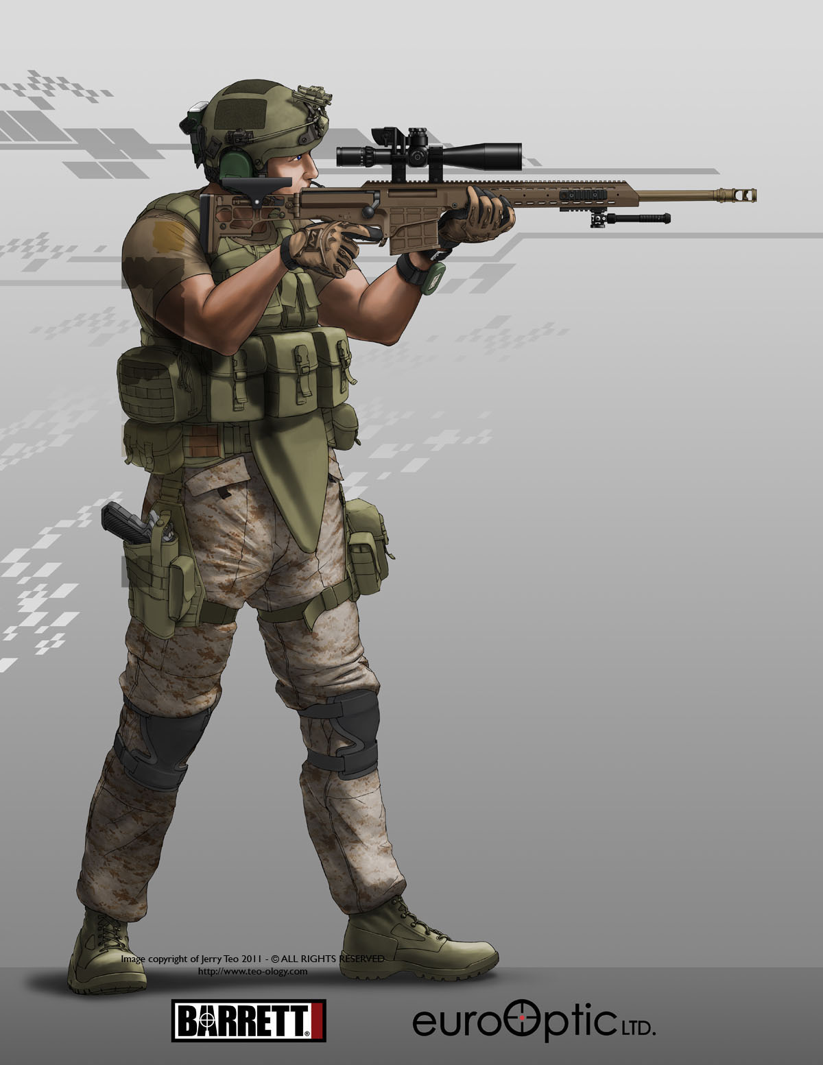 Drawn snipers army person Character~Concept~Soldiers more and mk48 this
