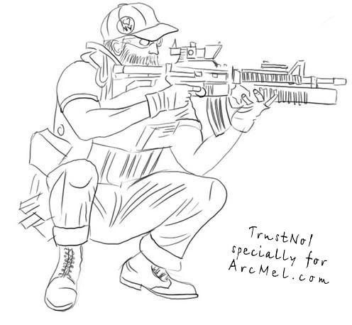 Drawn snipers army person 4 equipment military How to