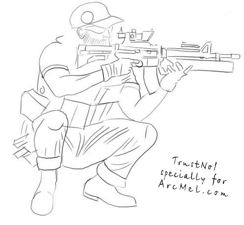 Drawn snipers army person 3 equipment military How to