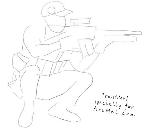Drawn snipers army person By equipment military step to